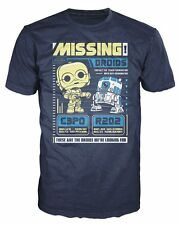 Funko POP Tees: Star Wars Missing Droids C3PO R2D2 Poster New In Box Size: 2X