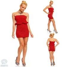 Sexy Casual Party Strapless Sweater Peplum Dress Mini Stretch Bodycon Clubwear