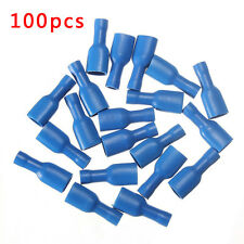 100pcs Blue Fully Insulated Female Spade Wire Crimp Terminals Connectors14-16AWG