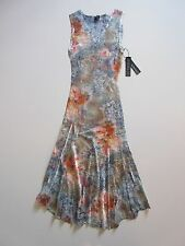 NWT KOMAROV Floral Print Lace Trim Inset Crinkle Sleeveless V-Neck Dress M $278