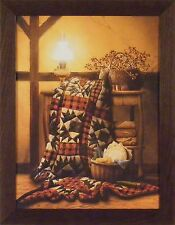 GRANDMA'S QUILT by Doug Knutson 22x28 FRAMED PICTURE Rocking Chair Quilting