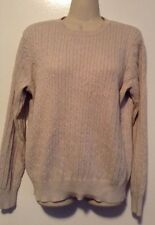 Kim Rogers Beige Round Neck Cable Sweater L Soft Crewneck Warm