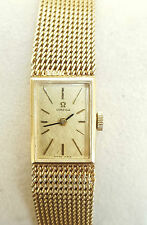 VINTAGE CASED OMEGA LADIES BRACELET WATCH SOLID 9CT GOLD + BRACELET