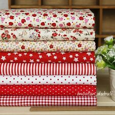 "Red Series 8 Assorted Pre-Cut Charm Cotton Quilt Fabric 17"" Square Quarters"