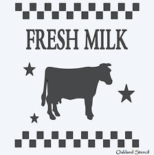 **Fresh Milk STENCIL with Cow Checkerboard Stars** Farm Country Signs Crafts