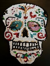 Skull sequin embroidered lace applique motif patch costume Goth Festival