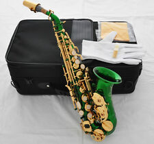 Green colour Top Quality Curved Soprano Saxophone Sax High F# saxofon New Case