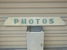 RARE OLD ORIGINAL ART DECO PHOTOS WOOD TRADE SIGN VINTAGE ANTIQUE PHOTOGRAPHY