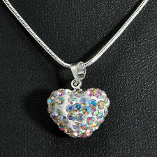Wholesale Women Pendant Jewelry Crystal Heart Silver Plated Necklace+Chain