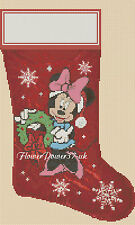 Cross stitch chart Natale Calze MINNIE MOUSE flowerpower37..