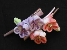 Handmade Japanese Kanzashi Style Hairpin Two Bloom Hairslides