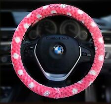 Girl Lady Fashion Fluffy Vehcle Car SUV Auto Plush Steering Wheel Cover Pink 15""
