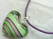 ACCESSORIZE NECKLACE – LARGE GLASS PUFFED HEART PENDANT_PALE PINK & PALE GREEN