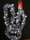 Ice Blue & White Snowstorm Snowflakes Christmas Tinsel Garland Tree Decorations