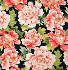 Fat Quarter Tadashi Black Flowers Cotton Quilting Fabric - Red Rooster