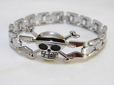 Watch chain style alloy metal bracelet of One Piece Luffy's straw hat skull!19cm