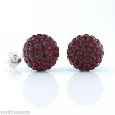 Sterling Silver Sparkling Crystal 12mm Burgundy Round Ball Stud Earrings