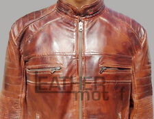 Men's Biker Vintage Style Cafe Racer Brown Wax Leather Jacket