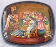 Russian Lacquer Box Fedoskino Maiden Getting Ready to Meet Her Suitor Gold & MOP