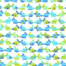 Rabbit Repeat Oh Baby Bunny Rabbits Aqua on White Cotton Fabric Fat Quarter