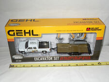 Gehl 503Z Excavator With Chevy Silverado Pickup & Trailer  By DCP  1/50th Scale