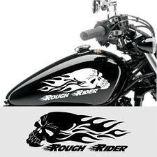 2 Stück Rough Rider Aufkleber Skull mit Flammen Motorradtank Aufkleber