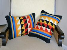 PAIR vibrant tribal throw pillow shams handcrafted of Pendleton Wool fabric
