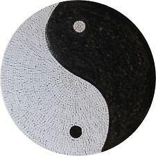 Ying Yang Peace And Love Round Artistic Medalion Home Art Marble Mosaic MD1563