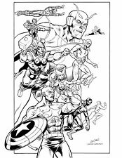 """AVENGERS 11"""" X 17"""" B&W POSTER inked by KEVIN NOWLAN comic art"""