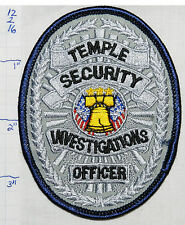 TEMPLE SECURITY INVESTIGATIONS OFFICER PATCH