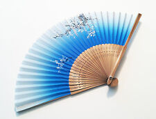 Bridal fan Japanese Bamboo Silk Hand Fan in Cherry Blossom Flower Design  Blue