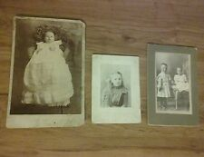 Antique Old Photographs Children Baby Cabinet Photos Pictures Infant Lot of 3