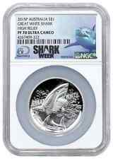 2015 Australia $1 1 oz. Proof Silver High Relief Great White Shark  PF70 UC