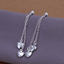 New Women 925 Sterling Silver Plated Chain String Heart Drop Hook Studs Earrings