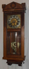 Vintage WOOD Carved OAK Cased THOMAS HALLER Wall Clock With BRASS Dial & Chime