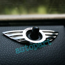 2x SILVERY WING DOOR LOCK KNOBS PINS CENTRAL LOCKING Emblem FOR BMW MINI COOPER