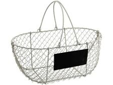 Vintage Chic Wire Metal Basket Oval Rustic White Garden Chalkboard Wedding Trug