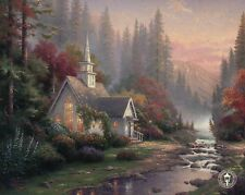 The Forest Chapel - Mountain, Stream, Trees etc - Thomas Kinkade Dealer Postcard