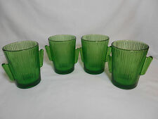 Libbey Glass 4 Green Cactus 10 oz Double Old Fashion Tumblers Barware.  N.O.S.