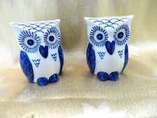 DELFT POTTERY OWL CRUET SET SALT & PEPPER POTS never been used
