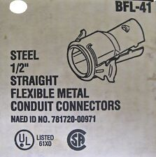 "25 New Bowers 1/2"" Flex Connectors BFL-41 Screw-in Snap-in Conduit"