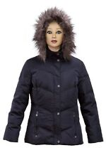 Calvin Klein Womans Navy Down Jacket with Faux Fur Hoodie BNWT Extra-Small