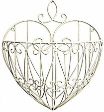 Heart Shaped Wall Planter Cream Metal Shabby Chic Vintage Garden Plants Flowers