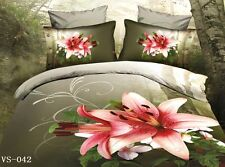 double Size FLORAL LILY 3d duvet bedding set LIMITED EDITION wedding;