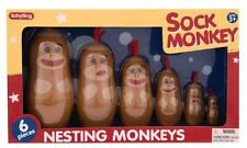 Sock Monkey Nesting Family Russian Style Dolls Schylling Toy - FREE SHIPPING!