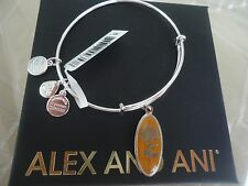 Alex and Ani GOLDEN FLOWER CHRYSANTHEMUM Charm Bangle Shiny Silver Tag Card& Box