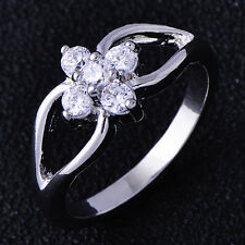 Fashion Womens Infinity Flower Rings Clear CZ Flower White Gold Filled Size 6