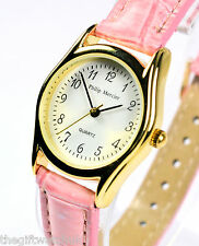 Ladies Pink Watch by Philip Mercier, Round Dial, Faux Leather, Buckle Fastening