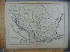 Rare Antique Original VTG Macedonia Danube Map Geography Illustration Art Print