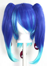 16'' Straight Pig Tails + 13'' Layered Base Wig Set Cobalt Blue, Aqua Green NEW